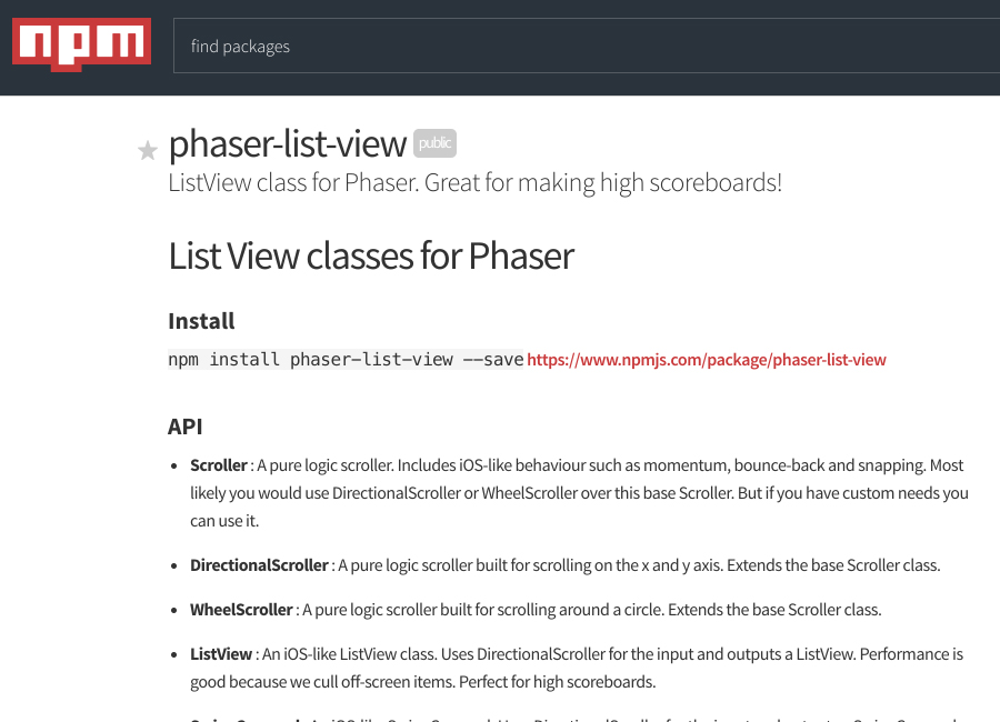 phaser-list-view open source